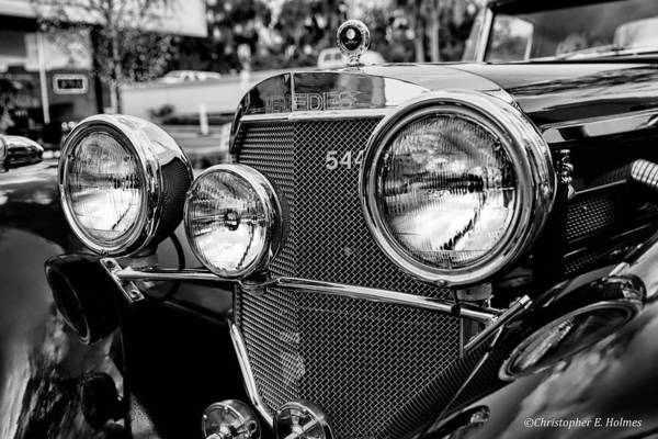 Photograph - Mercedes 544k Grille - Bw by Christopher Holmes
