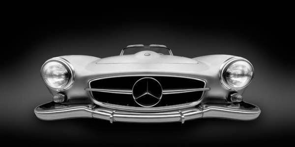 Wall Art - Photograph - Black And White Photography - Mercedes Benz 190sl Roadster - German Vintage Car by Alexander Voss