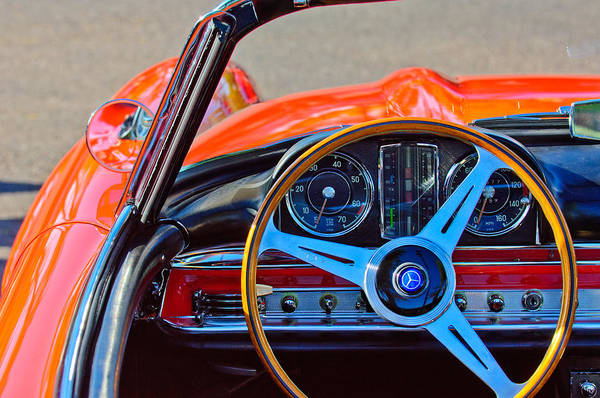Photograph - Mercedes-benz 300 Sl Steering Wheel Emblem by Jill Reger