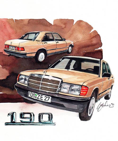 Mercedes Painting - Mercedes 190 by Yoshiharu Miyakawa