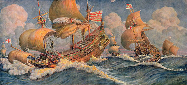 Waves Drawing - Merchant Ships Of 1640 by Robert Morton Nance