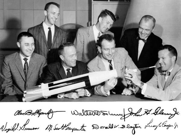 Gus Photograph - Mercury Astronauts With Atlas Model by Science Source
