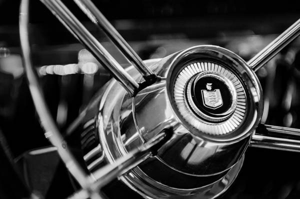 Photograph - Mercury Steering Wheel Emblem -3521bw by Jill Reger