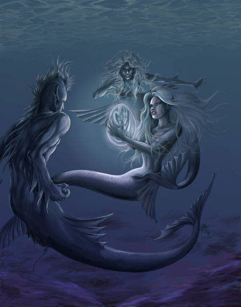 Wall Art - Painting - Merfolk Discovery by MGL Meiklejohn Graphics Licensing