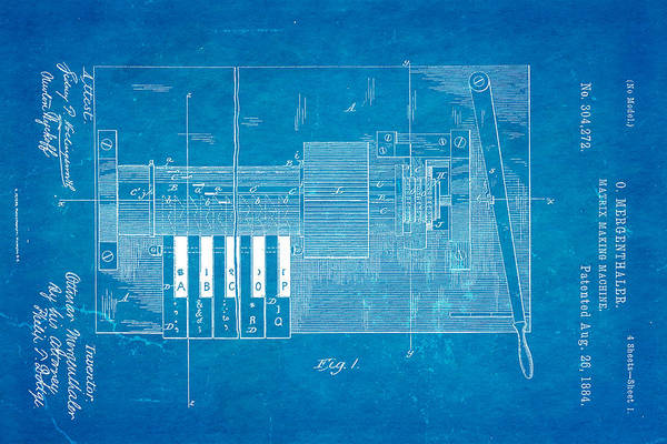 Printer Photograph - Mergenthaler Linotype Printing Patent Art 1884 Blueprint by Ian Monk