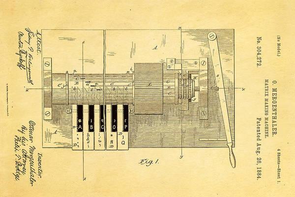 Printer Photograph - Mergenthaler Linotype Printing Patent Art 1884 by Ian Monk