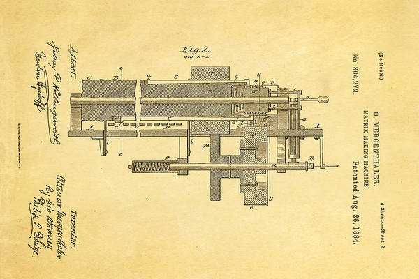 Printer Photograph - Mergenthaler Linotype Printing Patent Art 2 1884 by Ian Monk