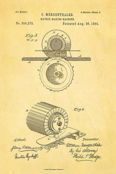 Printer Photograph - Mergenthaler Linotype Printing Patent Art 3 1884 by Ian Monk