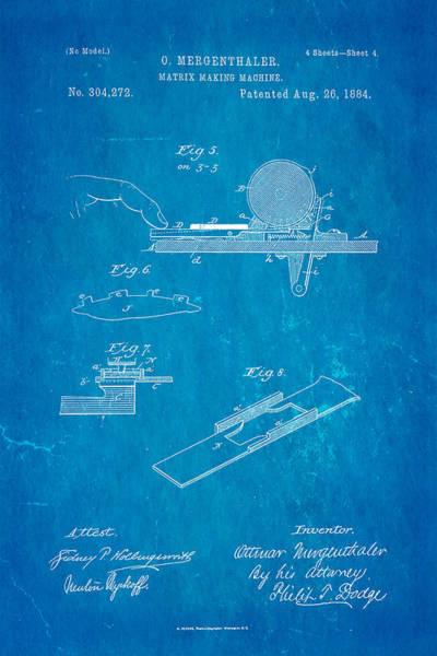 Printer Photograph - Mergenthaler Linotype Printing Patent Art 4 1884 Blueprint by Ian Monk