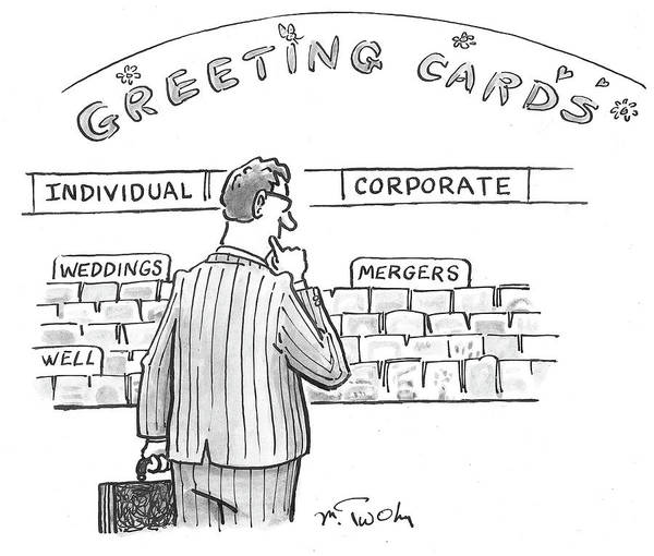 Mergers Drawing - Mergers by Mike Twohy