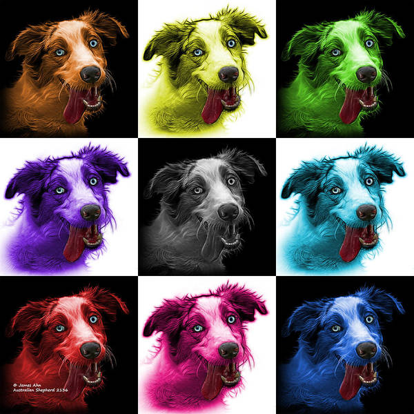 Painting - Merle Australian Shepherd - 2136 - V1 - M by James Ahn