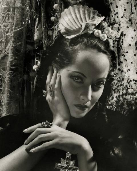 Photograph - Merle Oberon Wearing A Headdress by Cecil Beaton