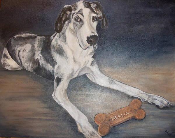 Black Great Dane Painting - Merlin by Maureen Pisano