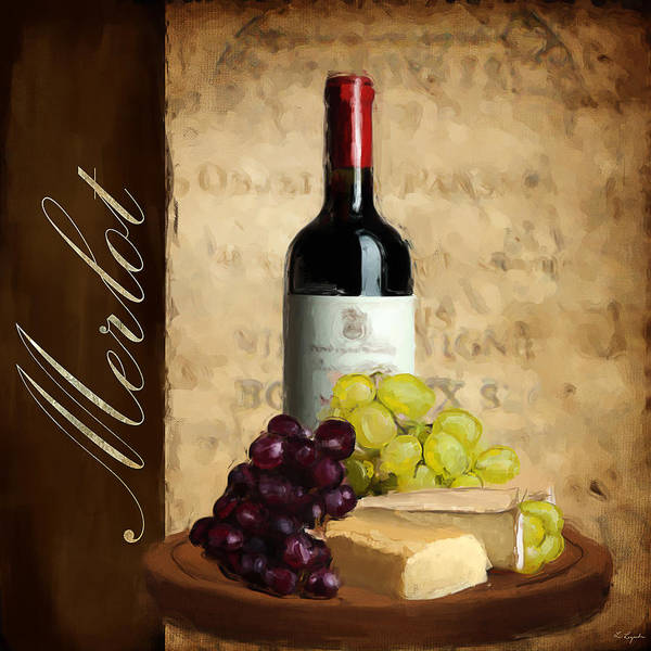 Bread And Wine Painting - Merlot IIi by Lourry Legarde