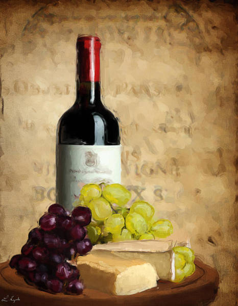 Bread And Wine Painting - Merlot Iv by Lourry Legarde
