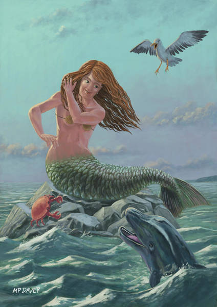 Wall Art - Painting - Mermaid On Rock by Martin Davey
