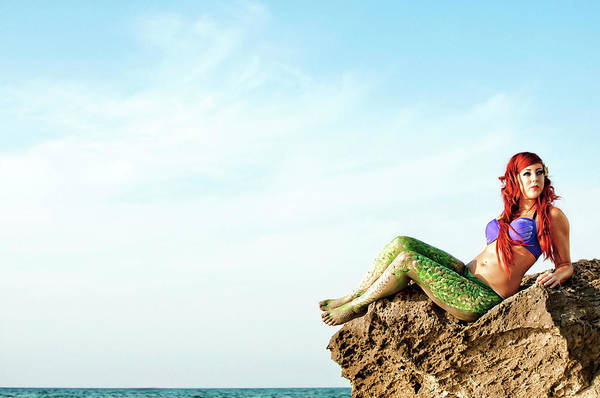 Candid Photograph - Mermaid On The Beach by Photostock-israel