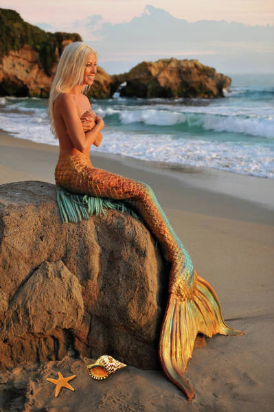 Content Photograph - Mermaid Sitting On Rock by Alexandria Lanier