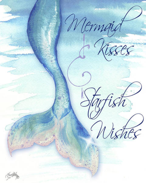 Wish Painting - Mermaid Tail I (kisses And Wishes) by Elizabeth Medley