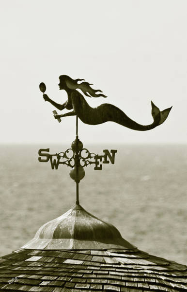 Photograph - Mermaid Weathervane In Sepia by Ben and Raisa Gertsberg