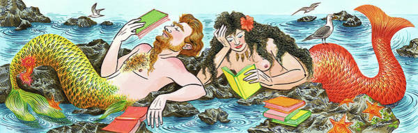 Wall Art - Digital Art - Mermaids  Reading Books by Foto Bureau Nz Limited