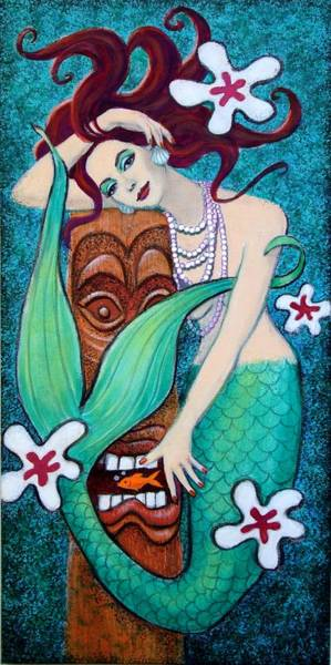Pop Surrealism Wall Art - Painting - Mermaid's Tiki God by Sue Halstenberg