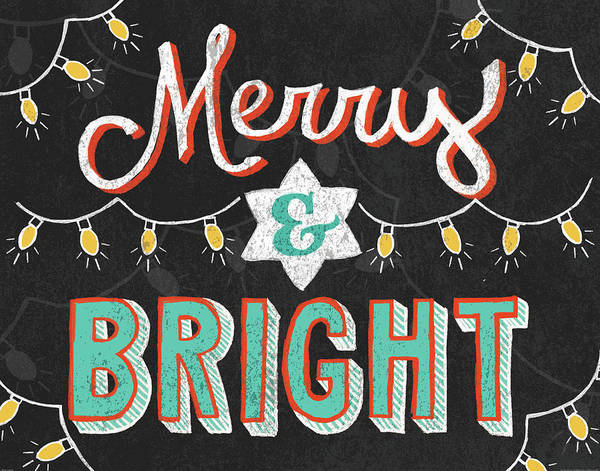 Merry Christmas Painting - Merry And Bright Black by Mary Urban