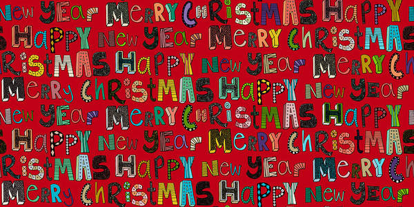 Hand Drawn Drawing - Merry Christmas Happy New Year Red by MGL Meiklejohn Graphics Licensing
