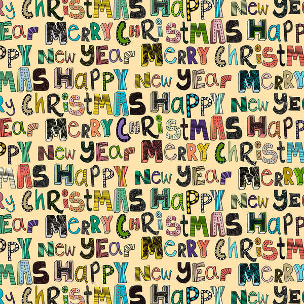 Holiday Drawing - Merry Christmas Happy New Year by MGL Meiklejohn Graphics Licensing