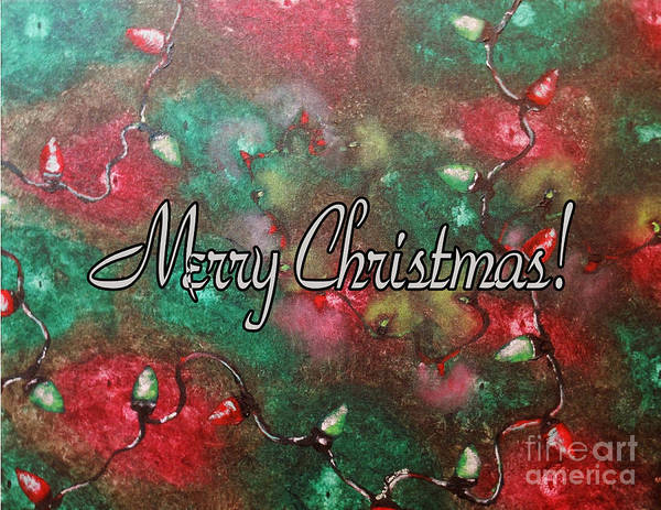 Wall Art - Painting - Merry Christmas Red And Green Lights  by Wayne Cantrell