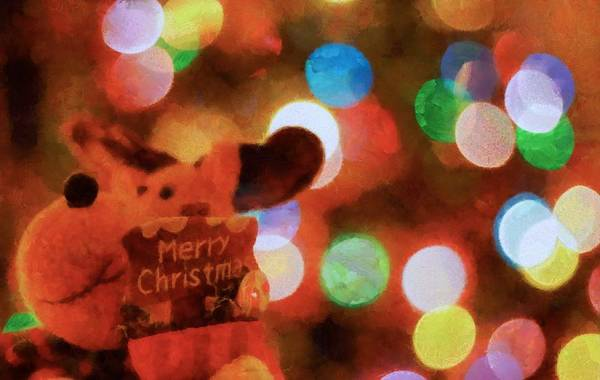 Wall Art - Painting - Merry Christmas Sign And Lights by Dan Sproul