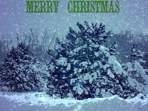 Mixed Media - Merry Christmas Winter Scene by Dan Sproul
