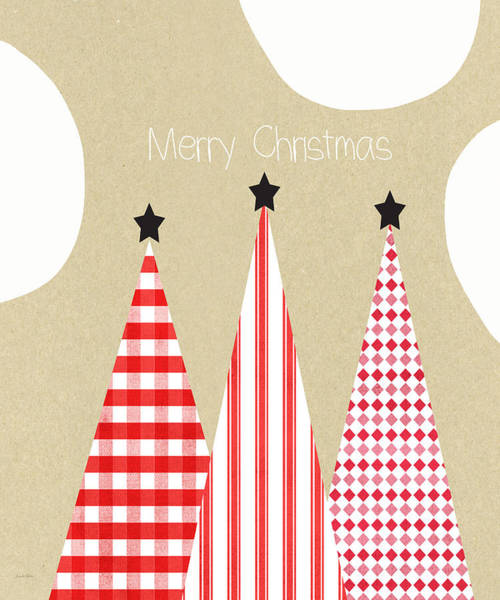 Cards Wall Art - Mixed Media - Merry Christmas With Red And White Trees by Linda Woods