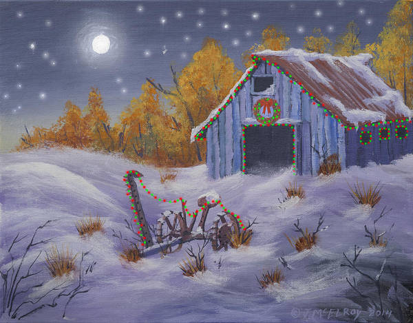 Barn Snow Painting - Merry Christmas You Old Barn And Farm Implement by Jerry McElroy