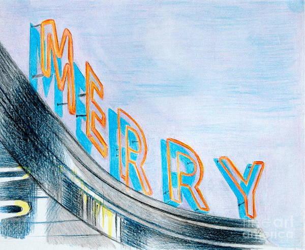 Neon Drawing - Merry by Glenda Zuckerman