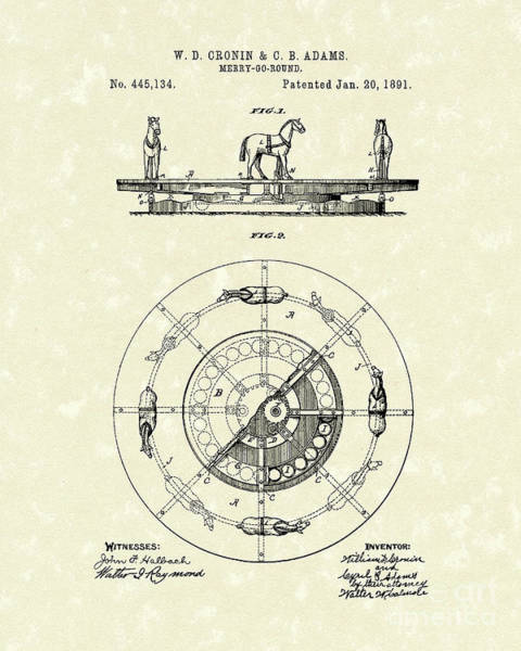 Drawing - Merry-go-round 1891 Patent Art by Prior Art Design