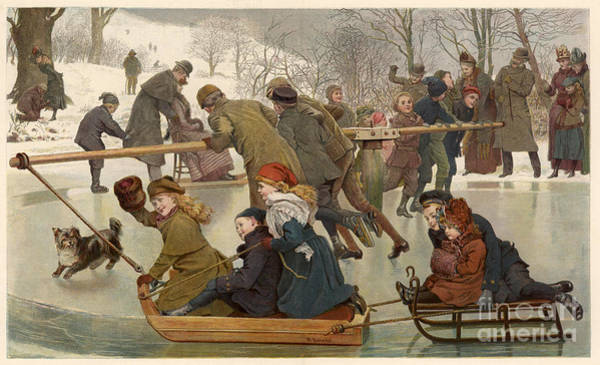 Photograph - Merry-go-round On The Ice 1890 by Mary Evans