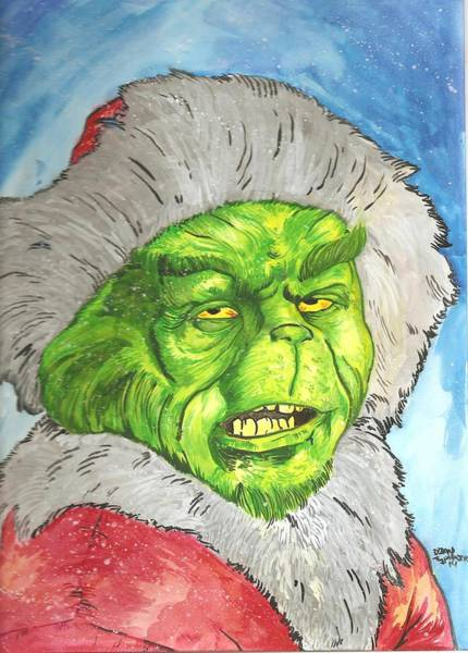 Jim Carrey Painting - Merry Grinchmas by Brian Typhair
