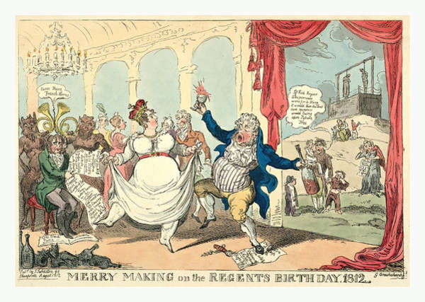 Wall Art - Drawing - Merry Making On The Regents Birth Day, 1812, Cruikshank by English School