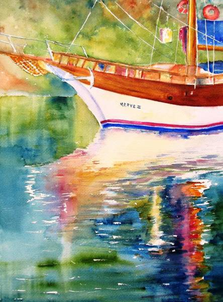 Istanbul Painting - Merve II Gulet Yacht Reflections by Carlin Blahnik CarlinArtWatercolor