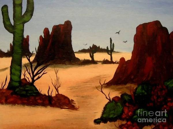 Grand Mesa Painting - Mesas Buttes And Cactus by Barbara Griffin