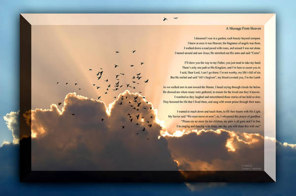 Photograph - Message From Heaven by Carolyn Marshall
