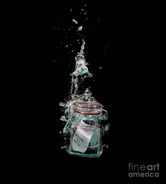 Text Bubble Photograph - Message In Sinking Bottle by Simon Bratt Photography LRPS