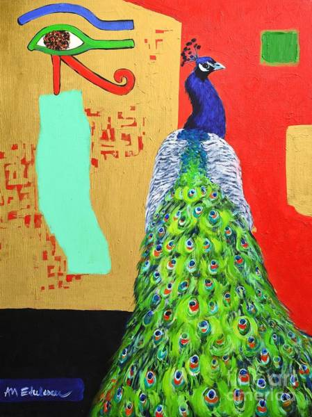 White Peacock Painting - Messages by Ana Maria Edulescu