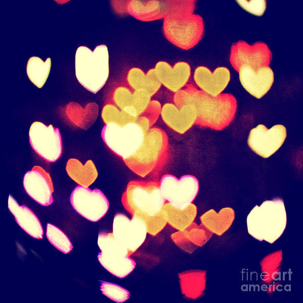 Photograph - Messy And Colorful Bokeh Hearts With Vintage Feel I by Beverly Claire Kaiya