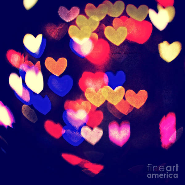 Photograph - Messy And Colorful Bokeh Hearts With Vintage Feel IIi by Beverly Claire Kaiya