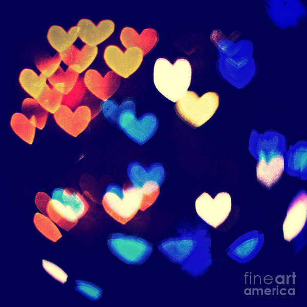 Photograph - Messy And Colorful Bokeh Hearts With Vintage Feel Iv by Beverly Claire Kaiya