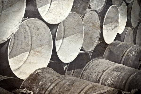 Photograph - Metal Barrels 1bw by Rudy Umans