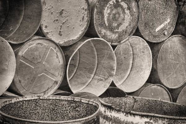 Photograph - Metal Barrels 2bw by Rudy Umans