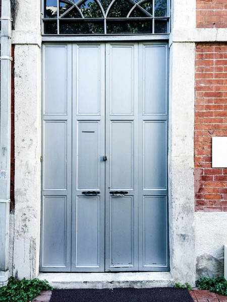 Handle Photograph - Metal Door With Stone Wall by Ediebloom
